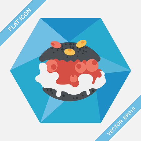 creampuff: Cream puffs flat icon with long shadow,eps10