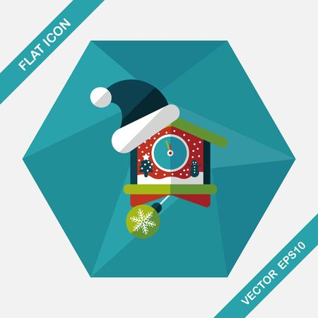 midnight hour: Christmas clock flat icon with long shadow,eps10