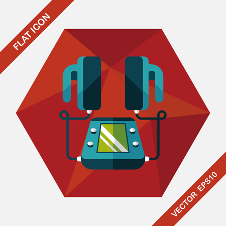 fibrillation: Heart Defibrillator flat icon with long shadow
