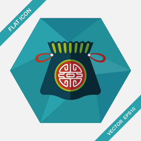 asian happy family: Chinese New Year flat icon with long shadow,eps10, Chinese lucky gifts Illustration