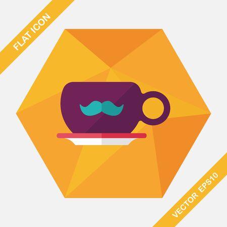 tazas de cafe: bigote taza de caf� icono plana con una larga sombra, eps10