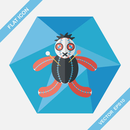 to pierce: Halloween voodoo doll flat icon with long shadow,eps10 Illustration