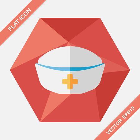 nurse: nurse hat flat icon with long shadow,eps10 Illustration