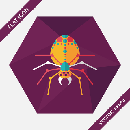 zoo: Halloween spider flat icon with long shadow,eps10 Illustration