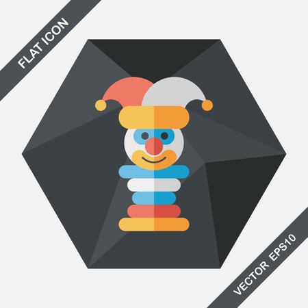 children education: Pyramid toy flat icon with long shadow,eps10 Illustration