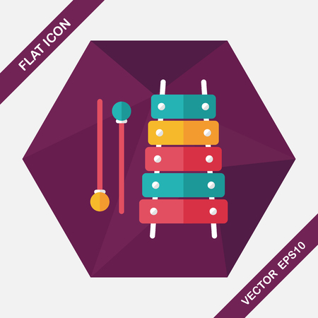 fun background: Xylophone flat icon with long shadow,eps10