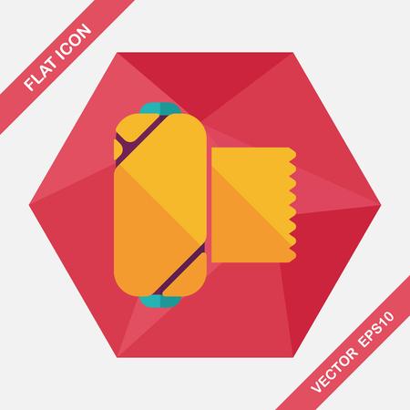 emergency medical: medical bandage flat icon with long shadow