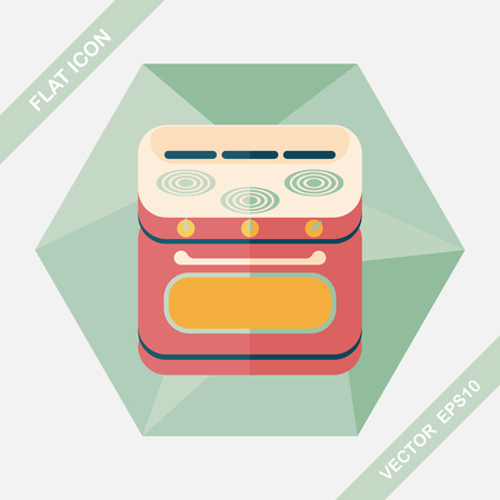 roaster: kitchenware gas stove with oven flat icon with long shadow