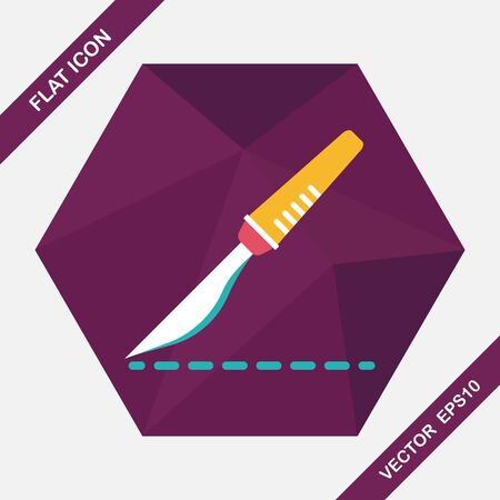 surgeon operating: Scalpel cut flat icon with long shadow Illustration