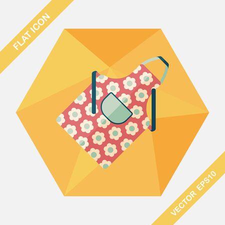 ustensiles de cuisine: ustensiles de cuisine tablier ic�ne plat avec ombre Illustration