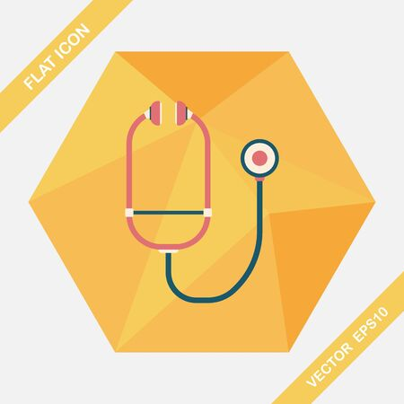 therapeutic: stethoscope flat icon with long shadow