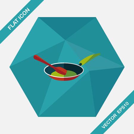 긴 그림자, EPS10와 주방 용품 프라이팬 삽 평면 아이콘 일러스트