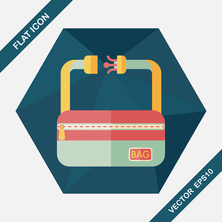 buckles: travel bag, flat icon with long shadow