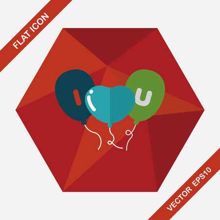 ballons: Valentines Day ballons flat icon with long shadow,eps10