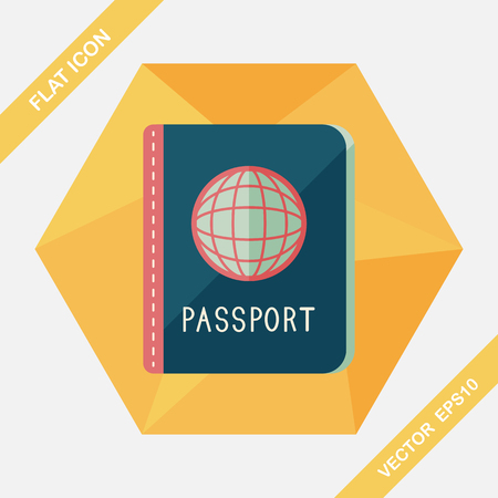 citizenship: Passport icon, flat icon with long shadow