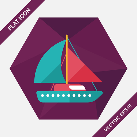 digital media: Sailboat flat icon with long shadow