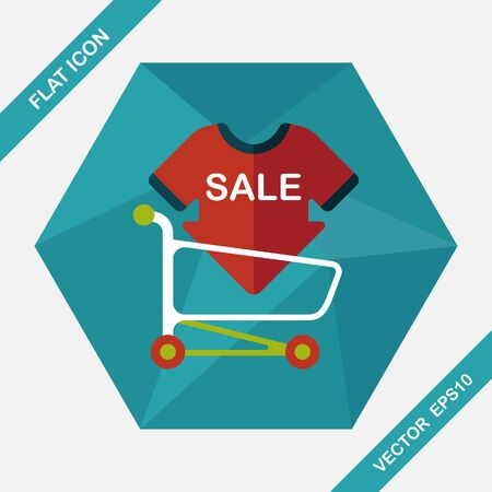 cheaper: shopping sale sign board and cart flat icon with long shadow,eps10