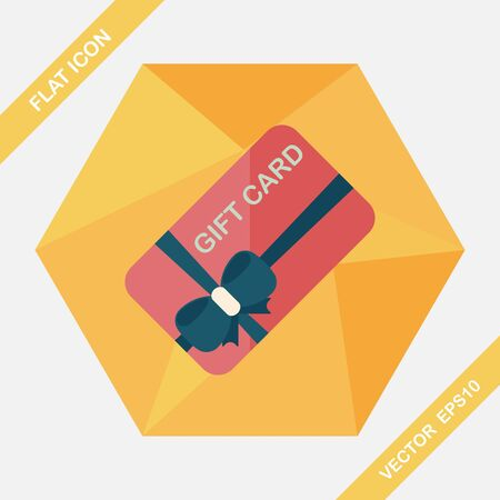 cutoff: shopping gift card flat icon with long shadow,eps10