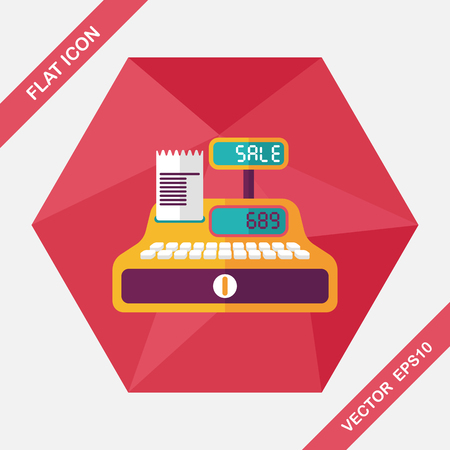 checkout counter: shopping cash register flat icon with long shadow,eps10