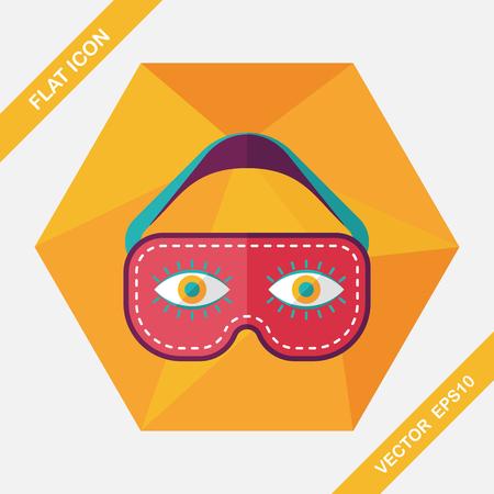 blindfold: eye mask, flat icon with long shadow