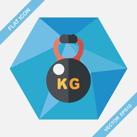 kilo: kettlebells flat icon with long shadow,eps10 Illustration