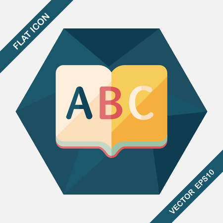 thesaurus: Dictionary book flat icon with long shadow,eps10 Illustration