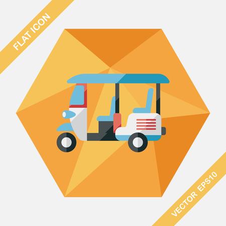 wheeled: Three wheeled motor rickshaw, flat icon with long shadow