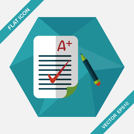 assignments: A plus grade in the notebook,flat icon with long shadow,eps10