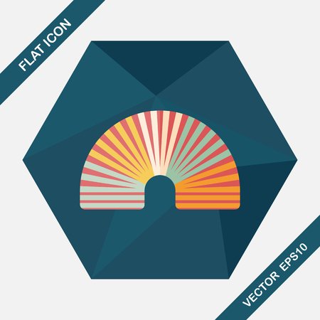 coil springs: Rainbow spiral flat icon with long shadow,eps10 Illustration