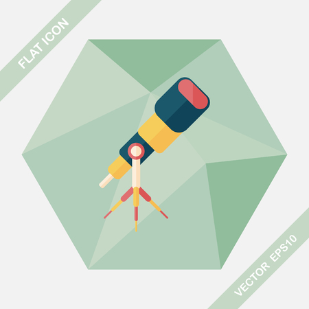 ocular: Telescope flat icon with long shadow,eps10
