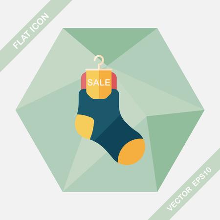 long socks: shopping sale socks flat icon with long shadow,eps10