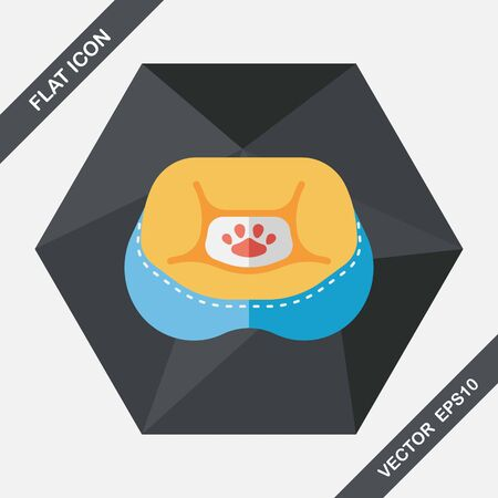 lying in bed: Pet bed flat icon with long shadow,eps10