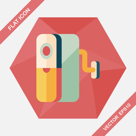 shavings: Pencil sharpener flat icon with long shadow,eps10 Illustration