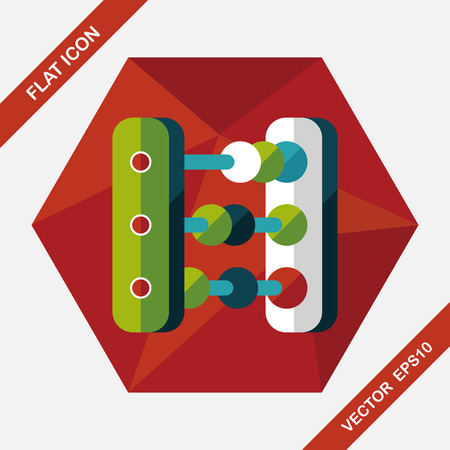 calculation: abacus calculation flat icon with long shadow Illustration