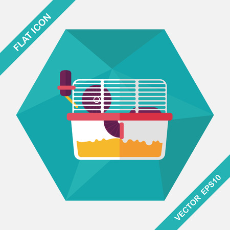 mouse trap: Pet mouse cage flat icon with long shadow,eps10 Illustration