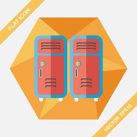 repetition row: school lockers flat icon with long shadow,eps10 Illustration
