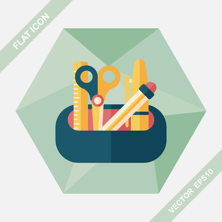 crayon  scissors: pencil box flat icon with long shadow,eps10 Illustration