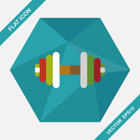 massage symbol: dumbbell flat icon with long shadow,eps10