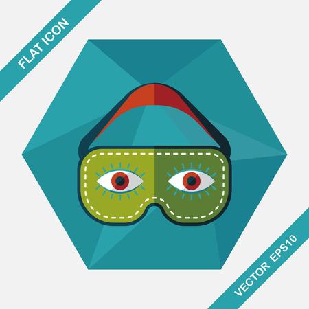 oogmasker, vlakke icoon met lange schaduw