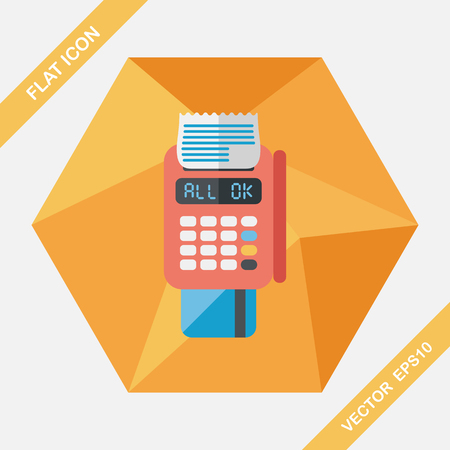 cashless: Shopping credit card machine flat icon with long shadow,eps10