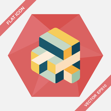 puzzling: toy cube flat icon with long shadow,eps10 Illustration
