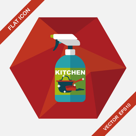 sanitize: kitchenware bottle soap flat icon with long shadow,eps10