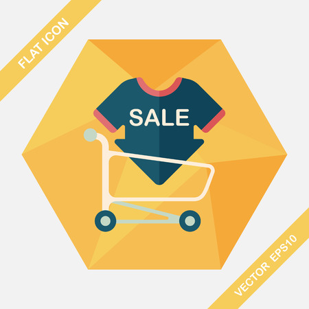 shopsign: shopping sale sign board and cart flat icon with long shadow,eps10