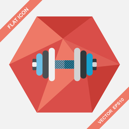 gymnasium: dumbbell flat icon with long shadow,eps10