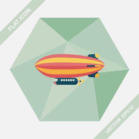 blimp: Airship flat icon with long shadow