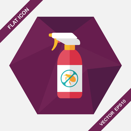 flea: Pet flea spray flat icon with long shadow,eps10