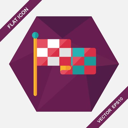 checker flag: racing flags flat icon with long shadow,eps10 Illustration
