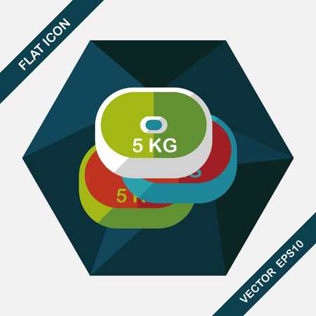 circular muscle: weightlifting plates flat icon with long shadow,eps10 Illustration