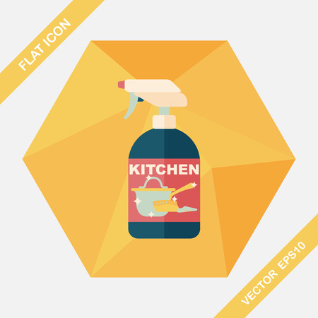 dish washing: kitchenware bottle soap flat icon with long shadow,eps10