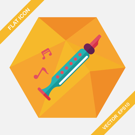 woodwind: Recorder flat icon with long shadow,eps10